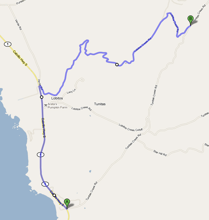 Map showing extra Los Lobitos loop