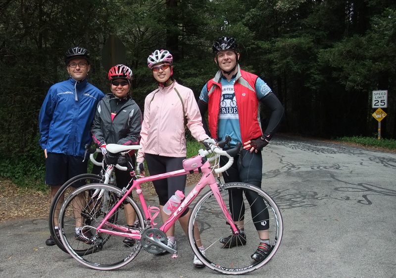 The &quot;Pink Bike&quot; group at the top of Old LaHonda