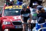 Andy Schleck 700 meters from the finish of the Galibier stage, taking 2+ minutes away from his rivals. Now wonder he looks happy!
