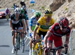 "Cadel Evans, Thomas Voeckler, Ivan Basso & Frank Schleck with 700 meters to go. Note Voeckler's ""expression."""