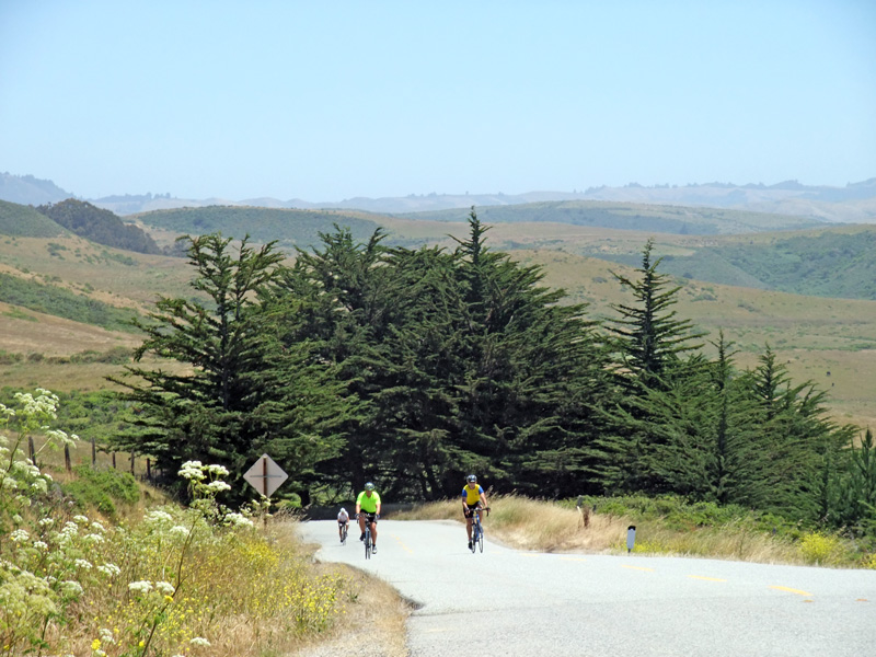 Riders approaching Highway 1 on Stage Road, just north of San Gregorio