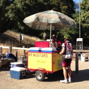 80 miles down, 32 to go, time for a cold drink and a hot-dog! Thank you, Mr. Mustard.