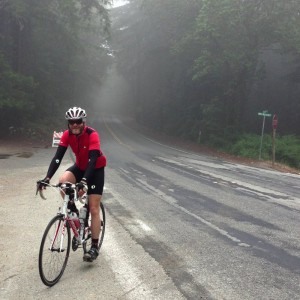 Foggy on top, but not lonely; several others out on the climb this morning.