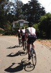 "Jeffrey, Kevin & Zach riding past the former ""Machine Gun Man"" house on Stage Road"