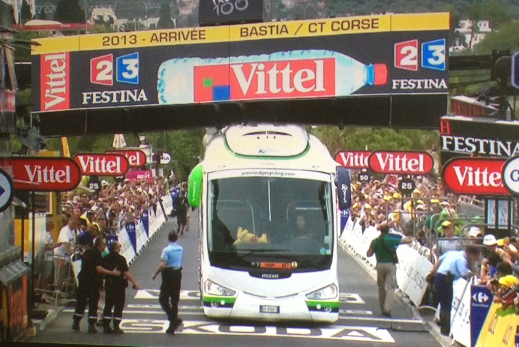 The Orica team bus ran into the finish-line structure at the Tour de France today, destroying its air conditioning system and causing a near-disaster for the finish of the race.