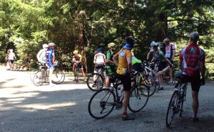 Party time at the top of Tunitas; not even 10am and quite a few cyclists up here (beating the heat coming shortly)
