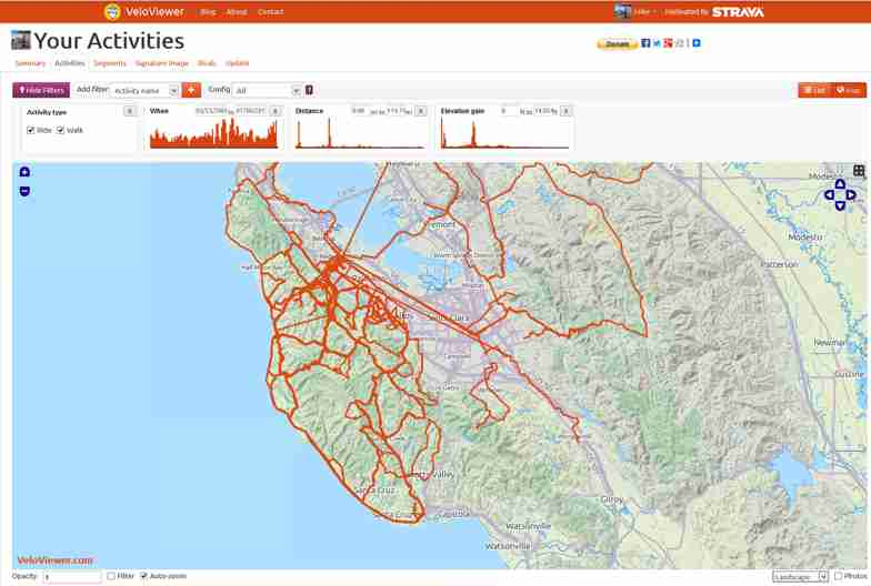 All the roads I've ridden, while on Strava, in the SF Bay Area