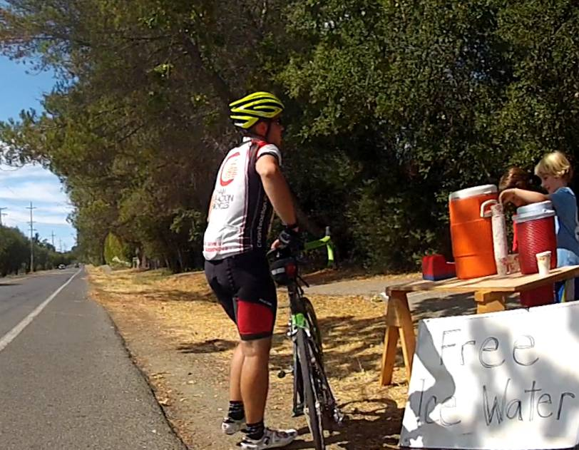 What gets you in the door- Free Ice Water. What cyclist can resist on a hot day?