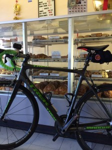 My bike's way too comfortable here.... (Donut King in Redwood City)