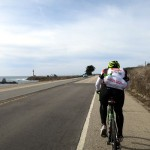 Kevin powering into the headwind as we pass Pigeon Point