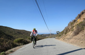 Kevin climbing Stage Road in the reverse direction (San Gregorio to Pescadero), very slowly.