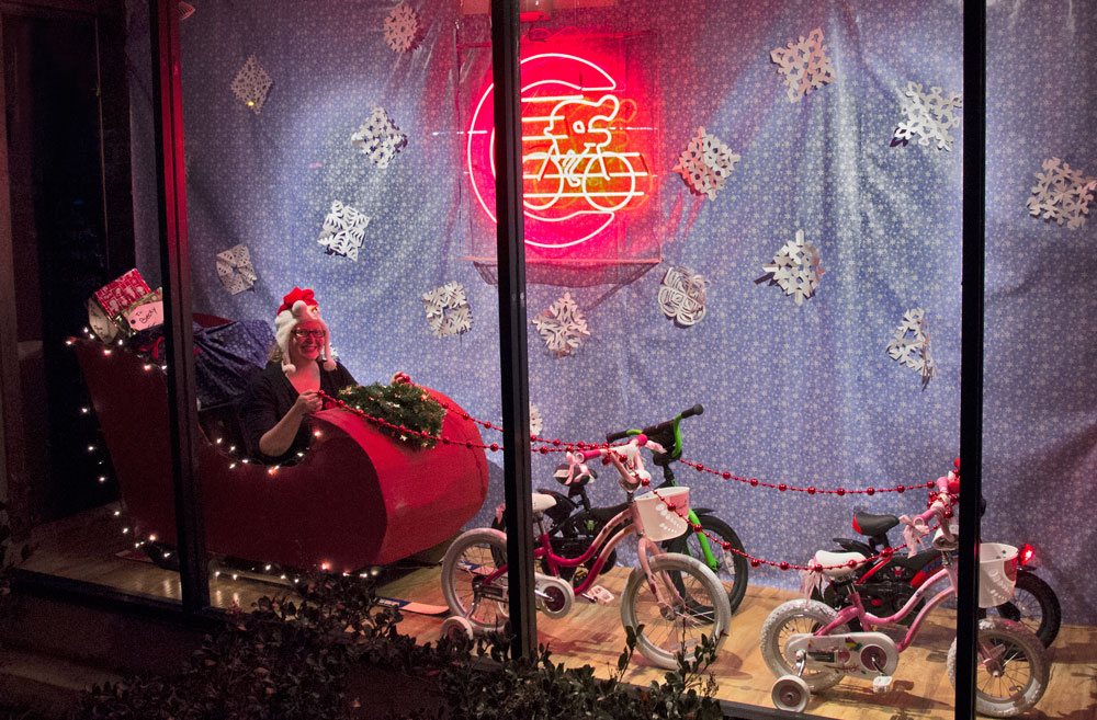 For just one night, Santa's Sleigh is being pulled by four bikes we're donating to the Redwood City Toy Drive