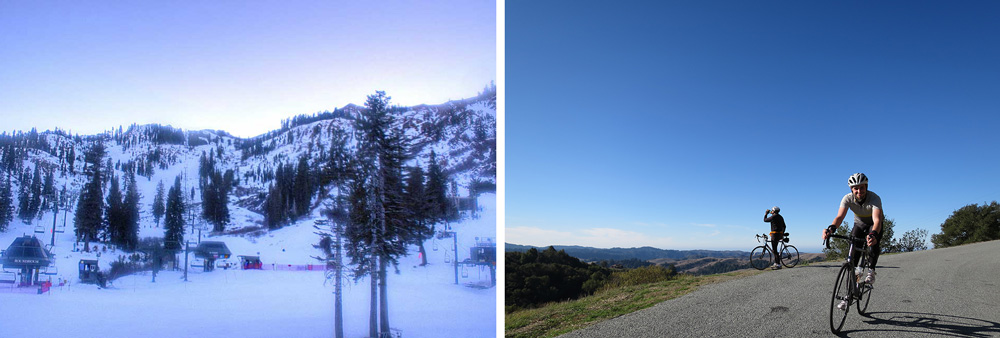 Maybe it's time to give up on that dream of skiing and get back out on your bike? Both pictures from the same day, one at Squaw Valley with, maybe, 4 people? The other on West Old LaHonda. Which looks more like paradise to you?
